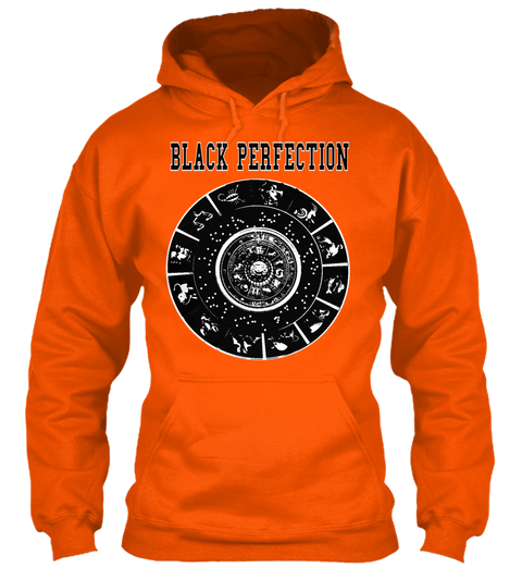 Black Perfection Black classic orange hoodie pull over Lion logo